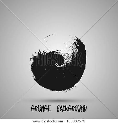 Black grunge design element, box, frame for text. Hand drawn brush strokes.