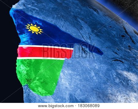 Namibia With Embedded Flag From Space