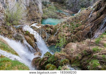 Fantastic waterfalls from Plitvice Lakes National Park Croatia