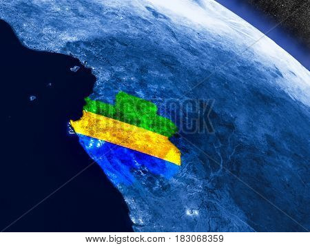 Gabon With Embedded Flag From Space