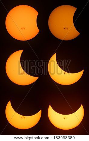 Various phases of a partial solar eclipse in Minnesota USA.