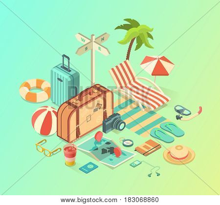 Summer Travel and Vacation isometric Accessories, vector illustration
