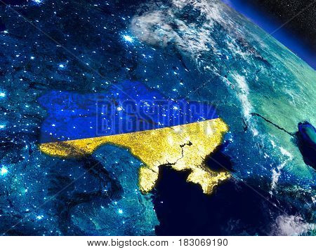 Ukraine With Embedded Flag From Space
