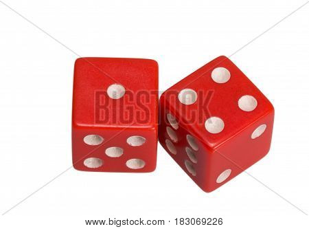 Two dice showing one and four, on white background.