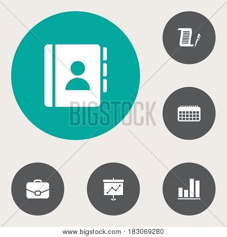 Set Of 6 Bureau Icons Set.Collection Of Contract, Diagram, Calendar And Other Elements.
