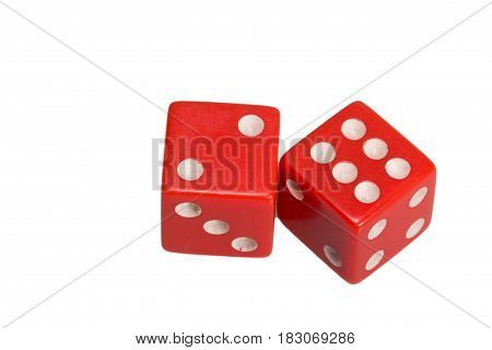 Two dice showing two and six, on white background.