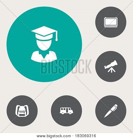 Set Of 6 Studies Icons Set.Collection Of Blackboard, Rucksack, Ink And Other Elements.
