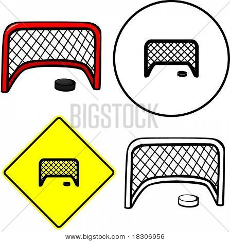 hockey puck and goal net illustration sign and symbol