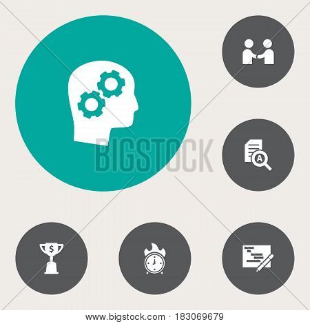 Set Of 6 Startup Icons Set.Collection Of Writing, Thinking Head, Goblet And Other Elements.