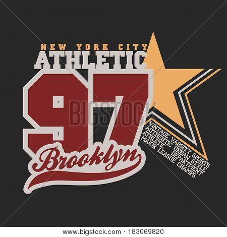 T-shirt stamp New York star graphic set, Sport wear typography emblem, vintage tee, athletic apparel design print. vector