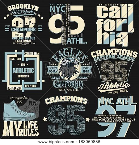 T-shirt stamp graphic set, New York Sport wear typography emblem set, vintage tee print, athletic apparel design graphic print. vector