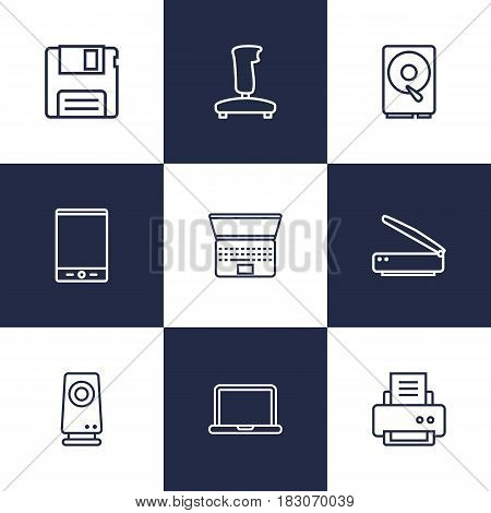 Set Of 9 Notebook Outline Icons Set.Collection Of Notebook, Hdd, Laptop And Other Elements.
