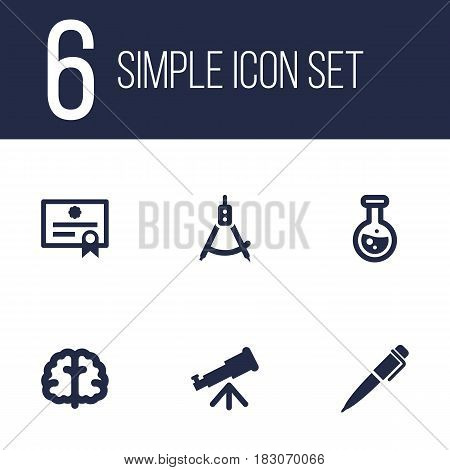 Set Of 6 Education Icons Set.Collection Of Magnet Navigator, Binoculars, Certificate And Other Elements.