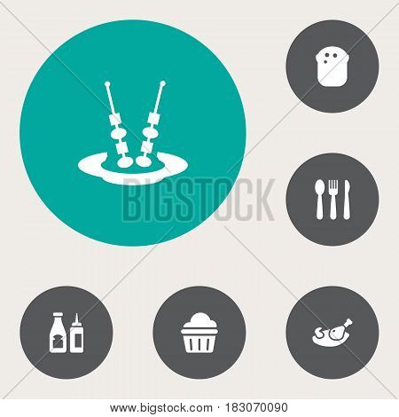 Set Of 6 Restaurant Icons Set.Collection Of Baguette, Catsup, Silverware And Other Elements.