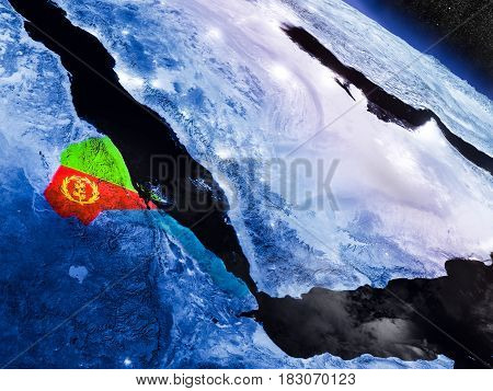 Eritrea With Embedded Flag From Space
