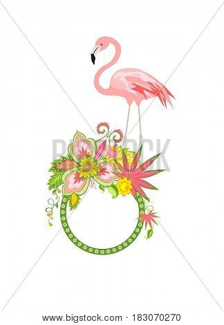 Frame with exotic flowers and pink flamingo