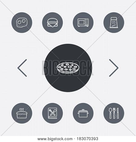 Set Of 9 Cooking Outline Icons Set.Collection Of Cutlery, Grater, Omelette And Other Elements.