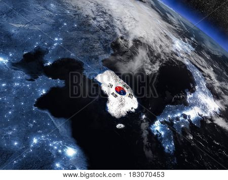 South Korea With Embedded Flag From Space