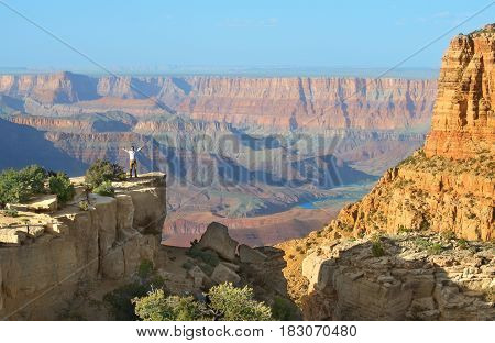 April 14 2017: View of Grand Canyon south rim in Arizona US. The picture is was taken from Moran Point one of the popular viewpoints at Grand Canyon south rim along the desert view drive.