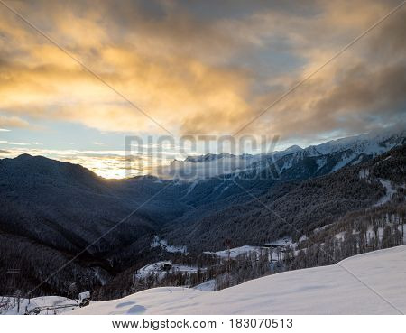 Beautiful landscape in the mountains on winter resort at Krasnaya Polyana