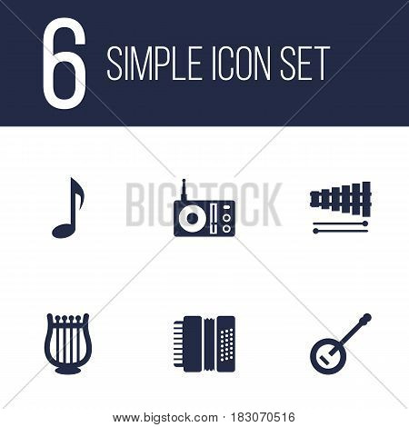 Set Of 6 Melody Icons Set.Collection Of Banjo, Lyre, Harmonica And Other Elements.