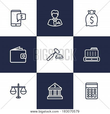 Set Of 9 Budget Outline Icons Set.Collection Of Auction, Justice, Wallet And Other Elements.