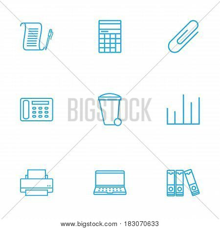 Set Of 9 Work Outline Icons Set.Collection Of Counter, Recycle Bin, Document Case And Other Elements.