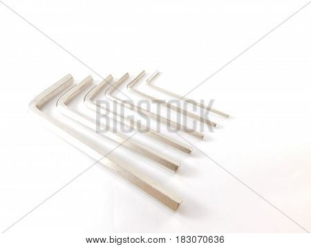 Six torx keys of different sizes for construction