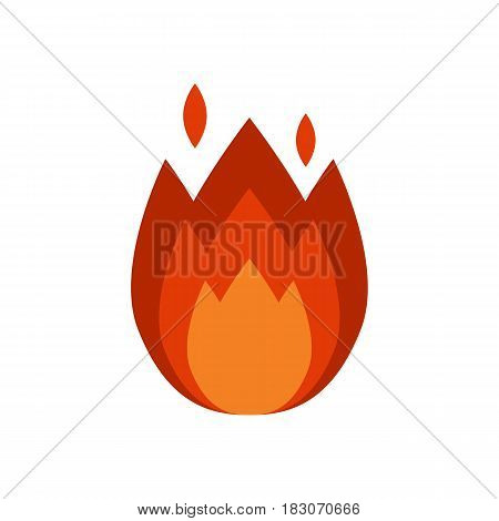 Fire flame hot burn vector icon warm danger and cooking yellow bonfire. Light blazing campfire ignite design and detail fireplace passion sign.