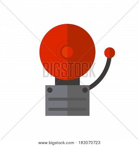 Fire alarm on wall for warning and security system wall bell button evacuation symbol protection push vector illustration. Firefighter flame panel mounted information equipment.
