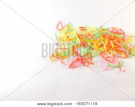 Elastic bands of different colors for hair.