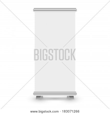 Blank roll up banner stand template. Roll-up banner display isolated on white background. Vector illustration.
