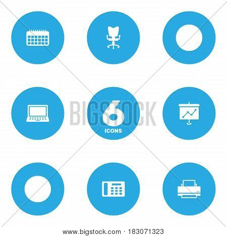 Set Of 6 Work Icons Set.Collection Of Printer, Laptop, Office Chair And Other Elements.