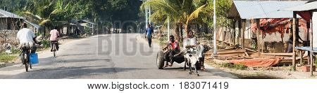 Zanzibar, Tanzania - July 14, 2016: Local folks riding in carriages with bulls, riding bicycles, walking in Zanzibar