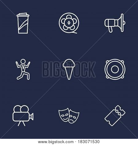 Set Of 9 Pleasure Outline Icons Set.Collection Of Ice Cream, Ticket, Bullhorn And Other Elements.