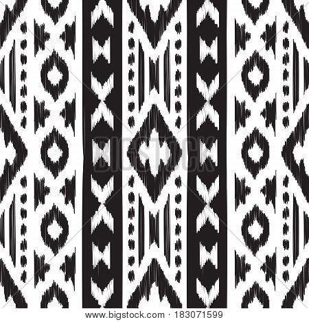 Black and white Navajo seamless pattern. American ethnic textile. Hipster striped seamless pattern. Aztec abstract background. Design may be used for wallpaper, textile, wrapper.