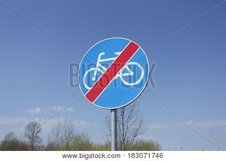 End of bike path traffic sign.