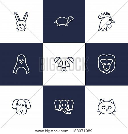 Set Of 9 Beast Outline Icons Set.Collection Of Cat, Penguin, Cock And Other Elements.
