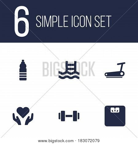 Set Of 6 Bodybuilding Icons Set.Collection Of Basin, Body Balance , Heart In Hand Elements.