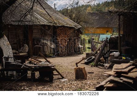 Household In The Village Of Russia. Handmade Household Tools In The Yard. Lifestyle Of Old People
