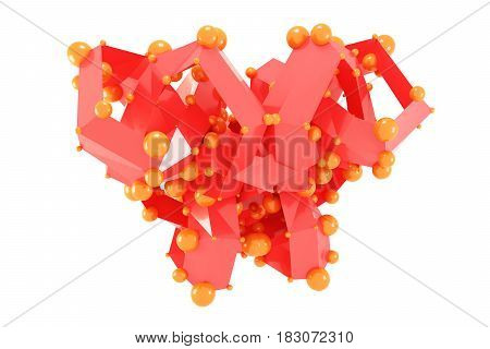 Abstract lowpoly polygonal shape with spheres isolated on white background