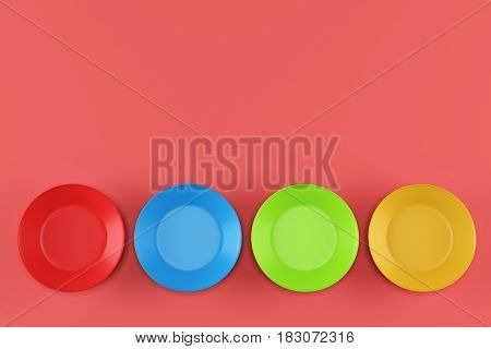 Four color plates on red background. 3d rendering
