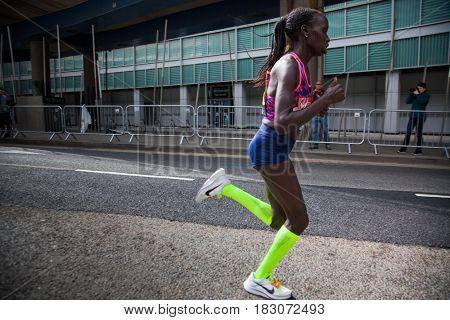LONDON - APRIL 23, 2017: CHERUIYOT, Vivian runs in the Virgin Money London Marathon on April 23, 2017 in Isle of Dogs.