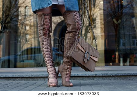 Detail Of A Beautiful Young Woman With Over The Knee Boots