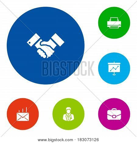 Set Of 6 Service Icons Set.Collection Of Presentation, Mail, Diplomat And Other Elements.