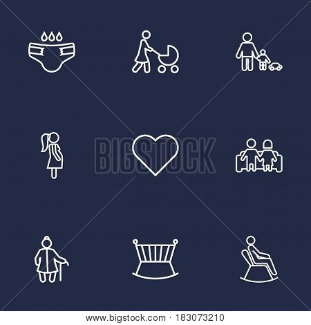 Set Of 9 People Outline Icons Set.Collection Of Playing, Diaper, Pregnant Woman And Other Elements.