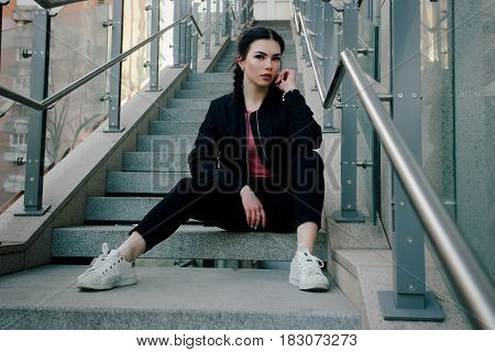 Fashion Girl At The Industrial Zone