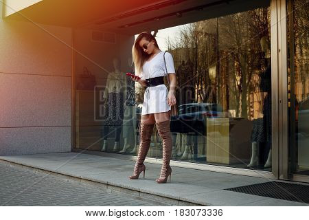 Beautiful Young Woman With Over The Knee Boots