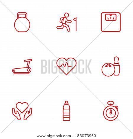 Set Of 9 Bodybuilding Outline Icons Set.Collection Of Health Care, Pulse, Stopwatch And Other Elements.