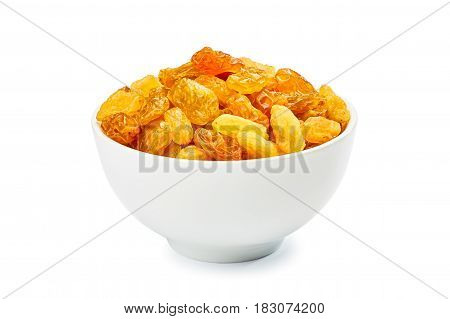 Bowl of golden raisins isolated on white background